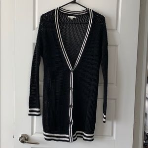 Black/ White Button Up Knit Sweater